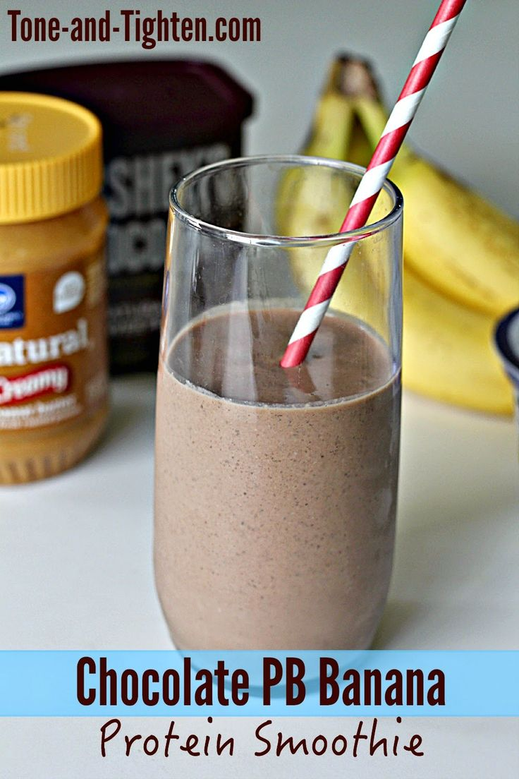 Chocolate Peanut Butter Banana Protein Smoothie on Tone-and-Tighten.com - loaded with protein without any protein powder!