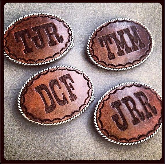 Groomsmen gift: Custom Initials Buckle - love these!