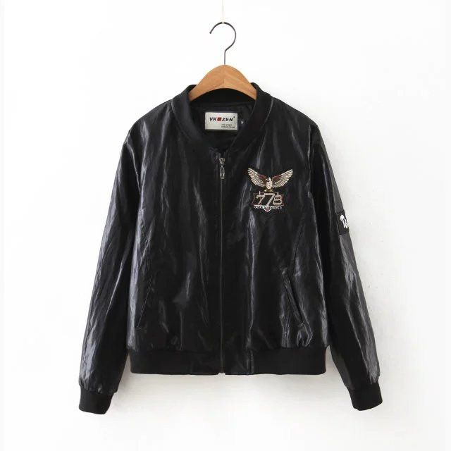 Europe in the autumn of the new women's Eagle embroidered leather bomber jacket women baseball cloth direct