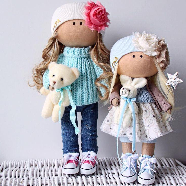 Две именные куколки - сестренки! Ростиком 35 и 30см ☺️ Замечательный подарок малышкам Злате и Еве от Мамы! Сделаны на заказ ✂️