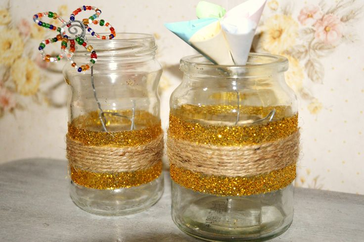 Jars into pretty glitter and twine vases