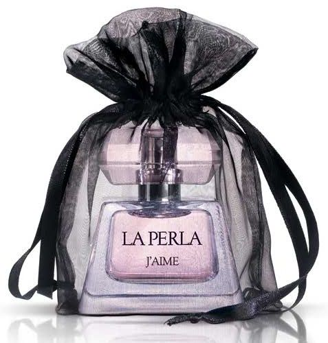 "La Perla ""J'Aime""--Bergamot, pepper and litchi open the composition. Intense Egyptian jasmine in the heart, which sounds almost animalisticly sensual, finds itself in the company of lotus and raspberry. As it develops, the fragrance becomes sweeter and darker, as musk, caramel, amber and patchouli come to the scene."