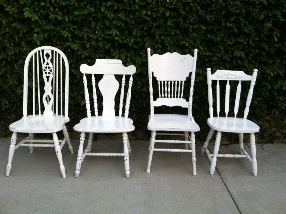 Mismatched Dining Chairs, Set of 4,  White, Shabby Chic, Cottage Chic, White Spindle Chairs,  Kitchen Chair (Los Angeles)