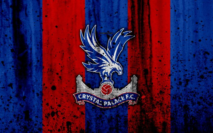 Indir duvar kağıdı FC Crystal Palace, 4k, Premier Lig, logo, İngiltere, futbol, futbol kulübü, grunge, Crystal Palace, sanat, taş doku, Crystal Palace FC