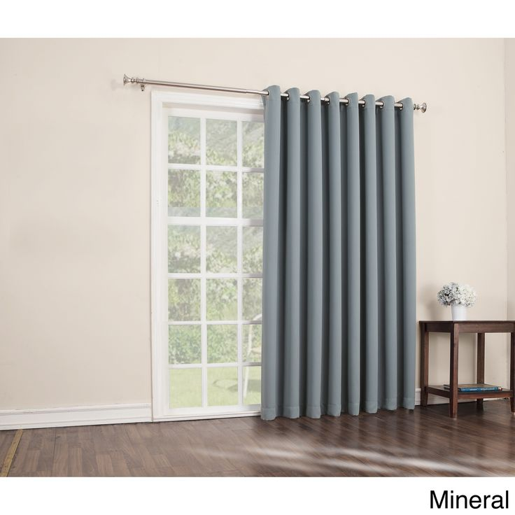 Sun Zero Hayden Grommet Blackout Patio Door Window Curtain Panel - 100 x 84 (Mineral), Blue, Size 84 Inches (Polyester, Solid)