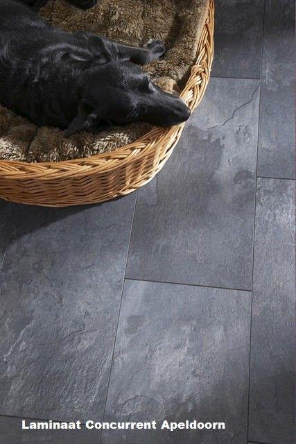 Visio Grande Oiled Slate 25715 Classen leisteen tegel laminaat grijs. Vloer keuken en woonkamer en gang.