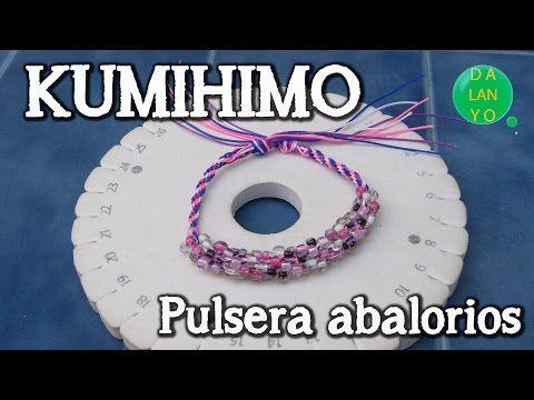Pulsera de kumihimo con abalorios - YouTube