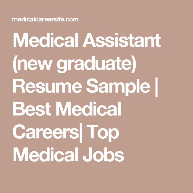 Medical Assistant (new graduate) Resume Sample | Best Medical Careers| Top Medical Jobs