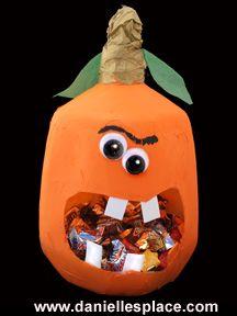 Pumpkin Craft - Milk Jug Pumpkin Treat Container Craft for Kids from www.daniellesplace.com