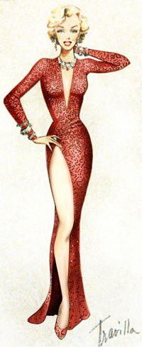 Costume Sketch for Marilyn Monroe by William Travilla - Gentlemen Prefer Blondes