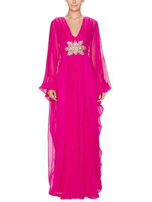 Marchesa Silk Embellished Kaftan Dress
