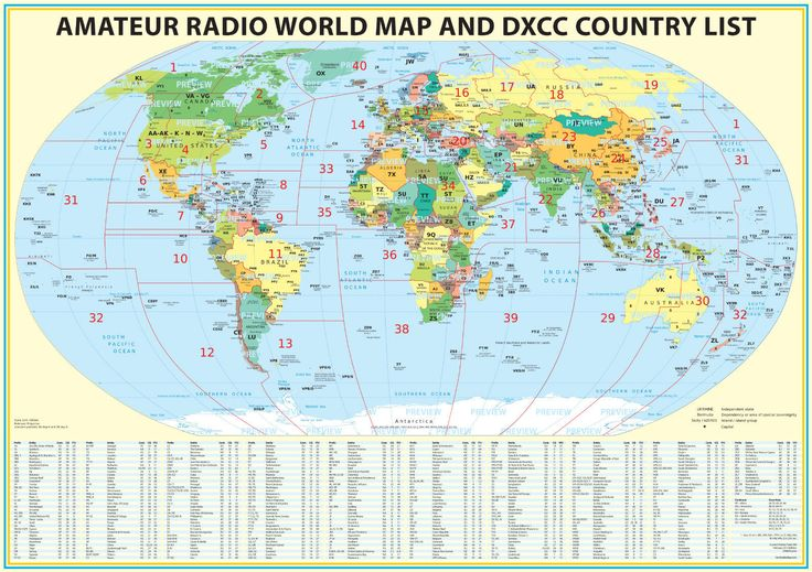 2016 Ham Radio Map with DXCC lookup table 23x33 . Amateur Radio Prefixes | eBay