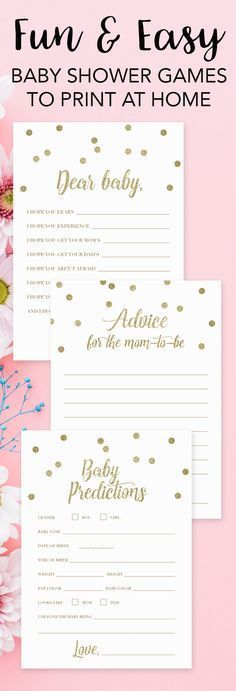Printable baby shower games by LittleSizzle. Click through to instantly download yours or re-pin for later! Gold baby shower ideas for a girl baby shower or a boy baby shower. Entertain your guests and create meaningful keepsakes for mom-to-be with these
