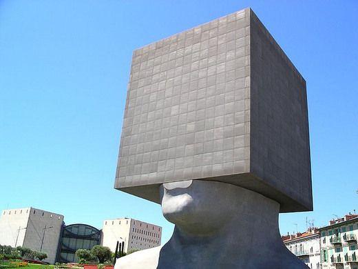 Nice, France - La Tete Carrée Library This massive blockhead sculpture hides an entire library