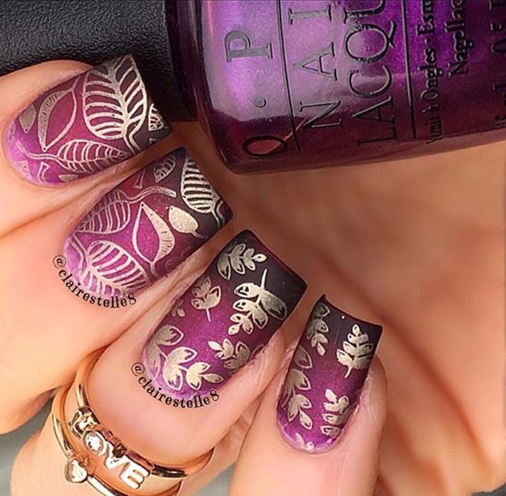 Part 2 - Shimmery purple, Shimmery pink, Black, and Light purple using Uber chic stamping plate 2-02 and 3-03 with Gold stamping polish