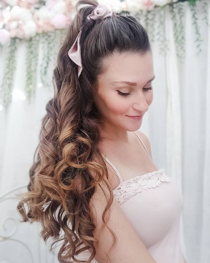 Style your Heatless curls into a simple half up half down hairdo with a cute scrunchie ...