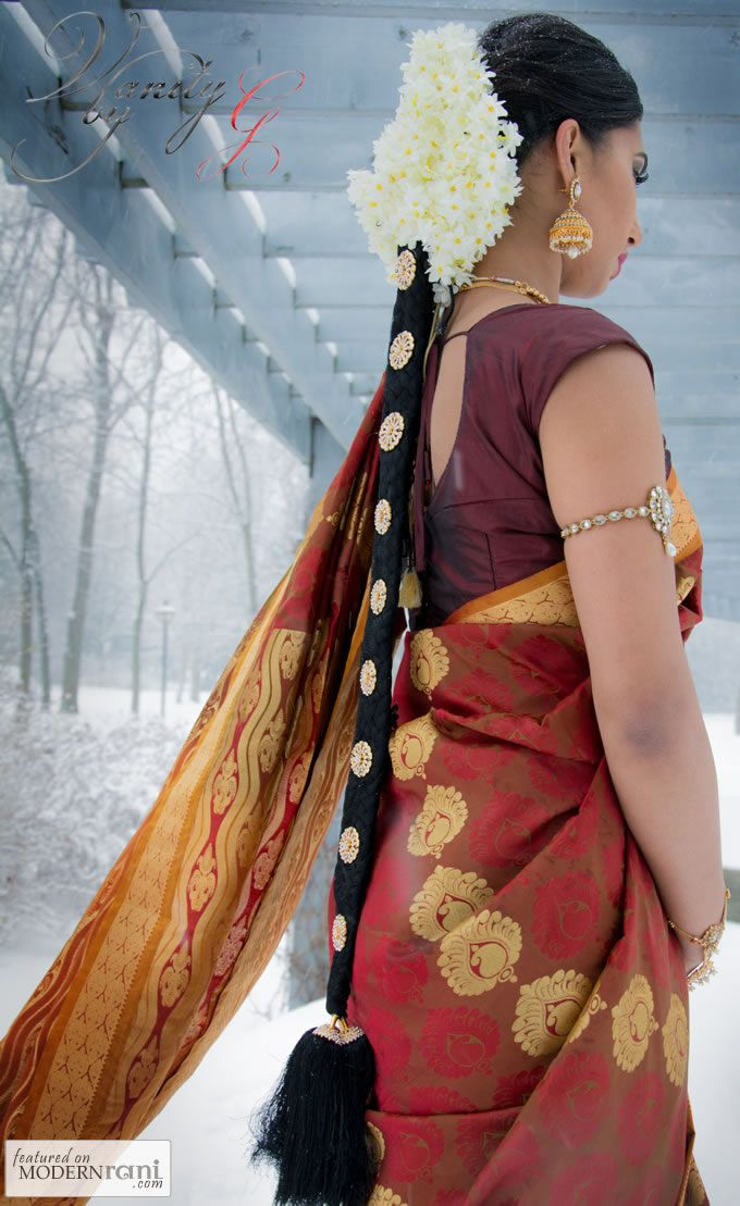 Traditional South Indian Tamil Bridal Wedding Hair Saree - more inspiration @ http://www.ModernRani.com