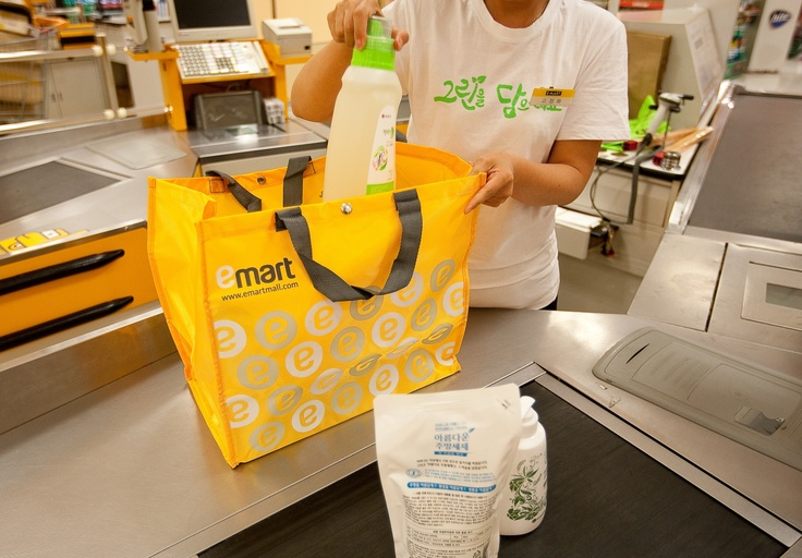 emart is the first company which stopped to provide plastic bag to customers. Now, almost all koreans bring their own shopping basket when they go shopping.