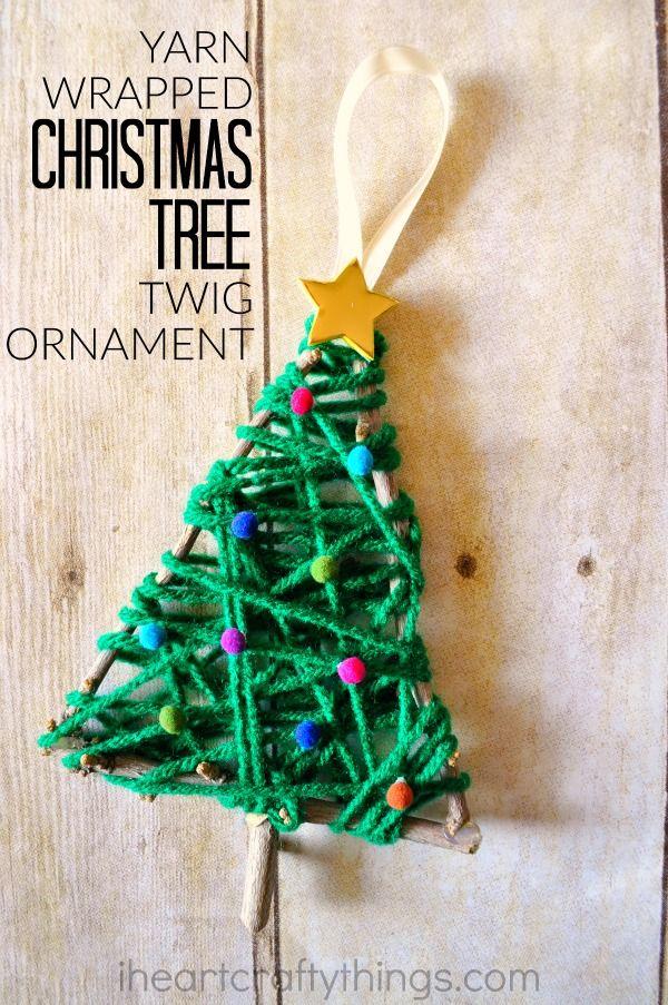 Yarn Wrapped Christmas Tree Twig Ornament