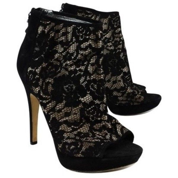 Pre-owned Via Spiga Black Lace PeepToe Heels ($57) ❤ liked on Polyvore featuring shoes, pumps, black, peep toe pumps, black lace shoes, lace pumps, high heel platform shoes and high heel platform pumps