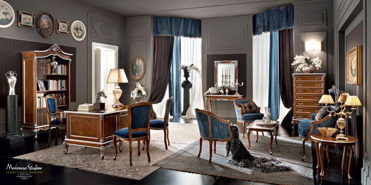Classic-luxury-furnishing-solution-for-office-studio-atelier-Casanova-collection-Modenese-Gastone.jpg - Ufficio in noce con decorazioni in radica e imbottiture in velluto blu