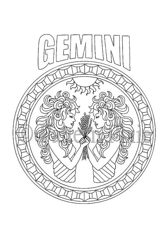Adult Coloring Page Zodiac Gemini van PatternPixie op Etsy