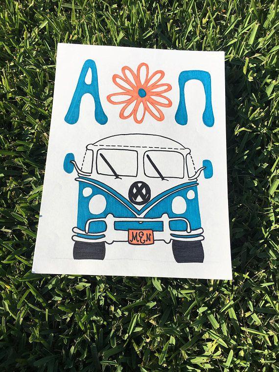 Alpha Omicron Pi hippy  customizable sorority art