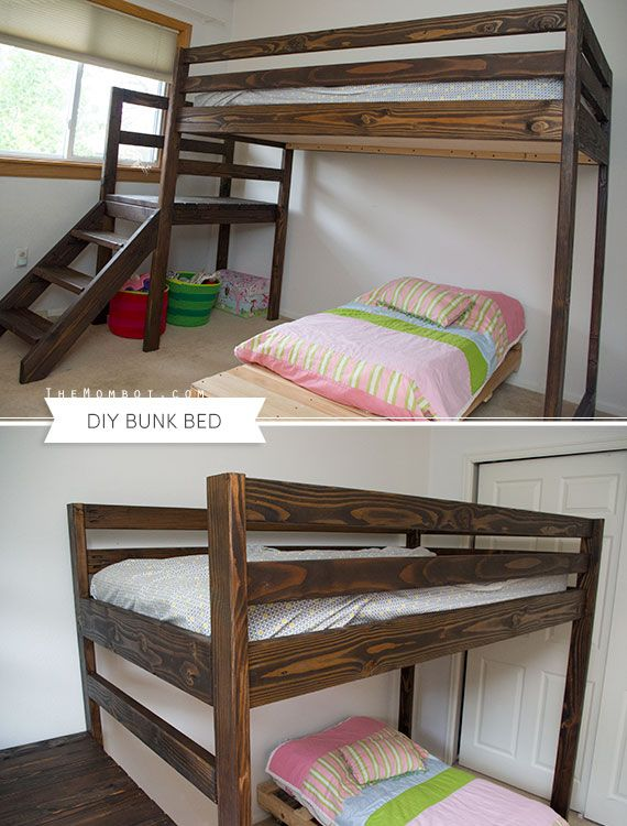 Diy bunk bed with stairs built with free plans from ana for White bunk bed with stairs