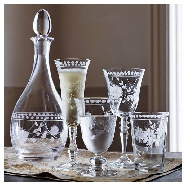 Vintage Etched Glassware Collection ($44) ❤ liked on Polyvore featuring home, kitchen & dining, drinkware, glass glassware, vintage decanter, holiday glassware, vintage glasses and etched glassware