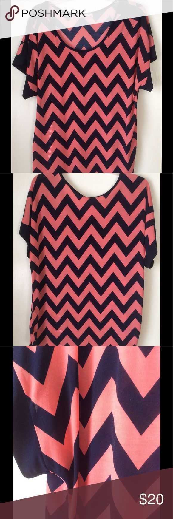 ✨EUC Chevron Shirt✨ Like New!!! Very comfortable. Worn twice. You can dress it up or down. Color of chevrons comes off as black but they are navy blue. (Cut tag in the back of shirt) Tops Tees - Short Sleeve
