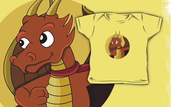 Cute orange dragon superhero cartoon by Radka Kavalcova