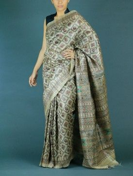 Tussar screen print saree