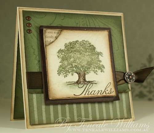 Lovely Thanks - front **** created by Teneale Williams using Stampin' Up! image from Lovely as a Tree, SU 2012-2013 catalog