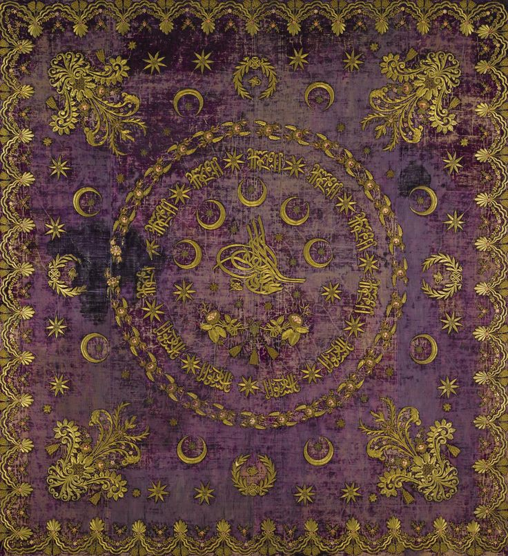 Embroidered panel. Late-Ottoman, 2nd half of 19th century. With a sultan's 'tuğra'/seal in the center. 'Goldwork' embroidery on velvet; the design is 'Turkish baroque', which was influenced by the European neo-Baroque and 'Nouvel Empire' styles.