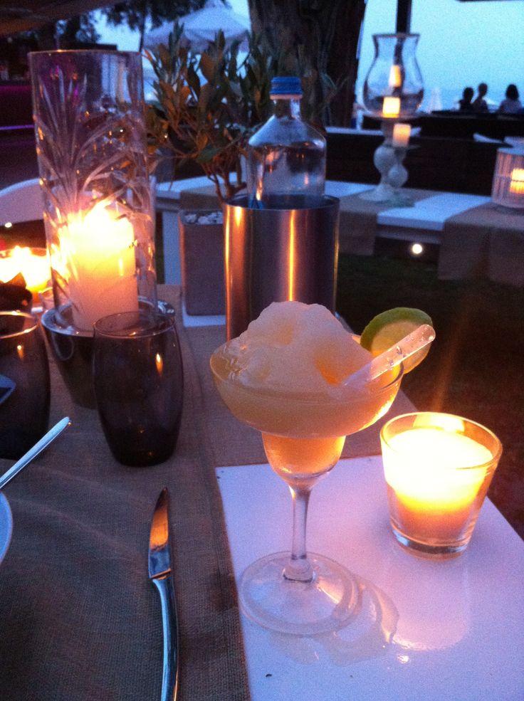 Enjoy a refreshing frozen cocktail, like this Melon Margarita, while overlooking the beach at Piedra del Mar in Barbati, Corfu.  www.piedradelmar.gr/