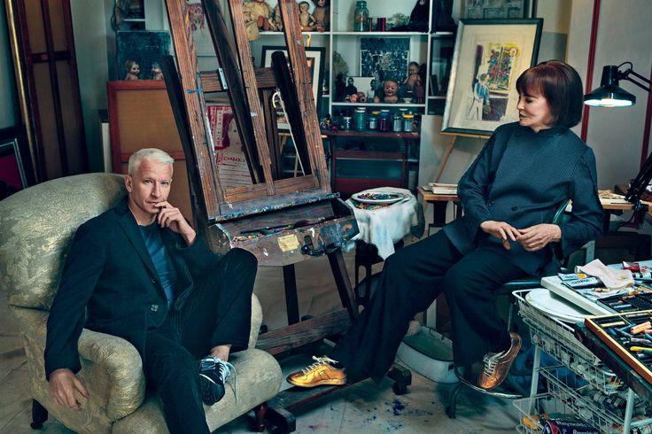 A new HBO documentary chronicles Anderson Cooper interviewing his mother Gloria Vanderbilt, photographed in Vanderbilt's art studio.