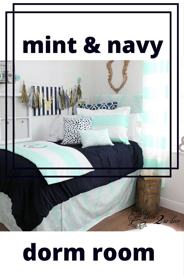 Mint and navy dorm room. Dorm Décor and More! Available in all bed sizes: twin, full/queen, and king. Custom pillows, exclusive bed scarf, window panels, wall art, bed skirts, and custom monogramming! Custom-made designer bedding and accessories.