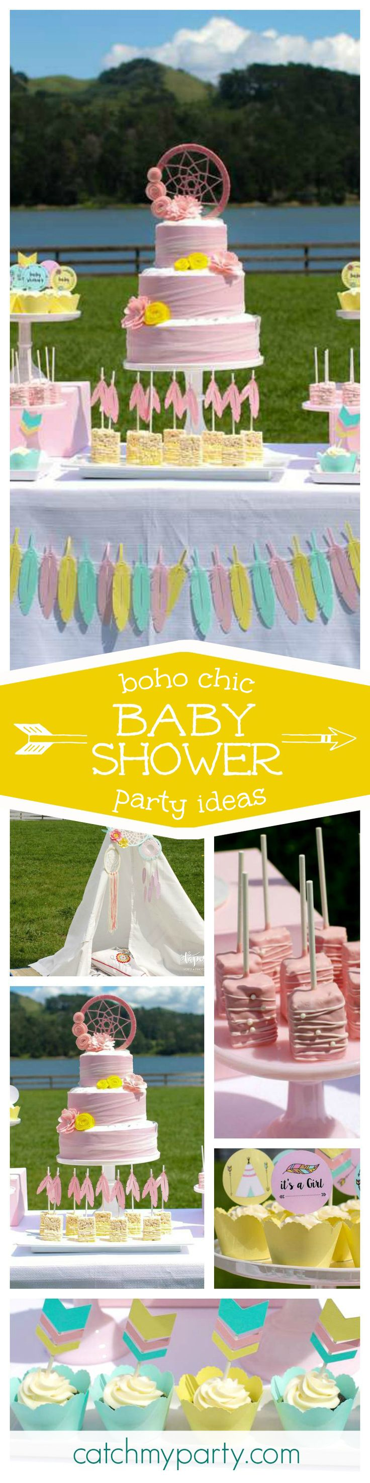 Check out this fantastic Boho chic pink Baby shower! The cake is stunning and the desserts so pretty! See more party ideas and share yours at CatachMyParty.com