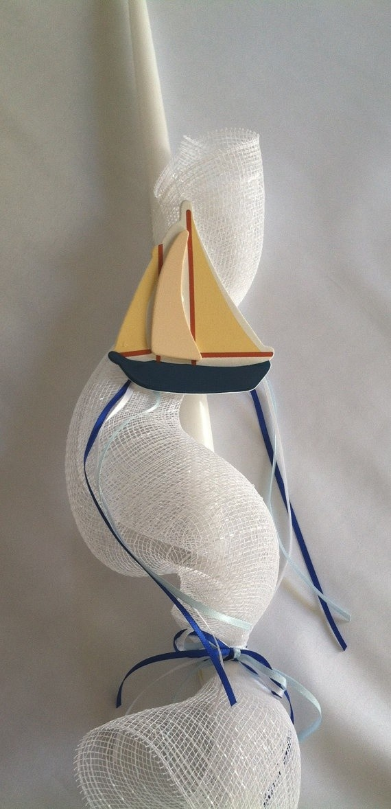 Sailboat Easter Candle, $20.00 at Greek Wedding Shop ~ http://www.greekweddingshop.com