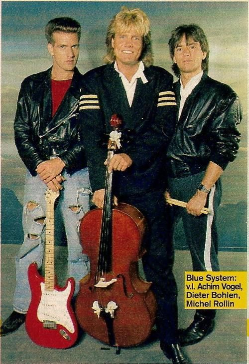 Blue System was a German pop group that was founded by Dieter Bohlen in 1987 after the break-up of Modern Talking. From left to right:  Joachim Vogel, Dieter Bohlen and Michel Rollin.