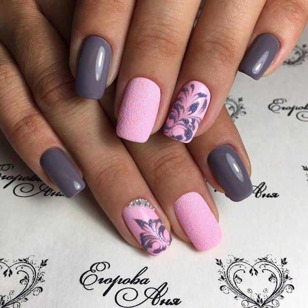 Beautiful patterns on nails, Dating nails, Fashion nails 2017, Grey and pink nails, Nail designs with pattern, Pink dress nails, Stylish nails, Summer nail art