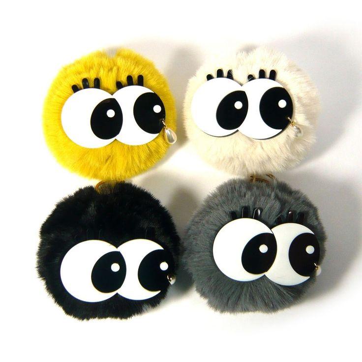 Big Plastic Eyes Drop Pearl Soft Fur PomPom Ball Key Ring Chain Wallet Bag Charm #Jacc