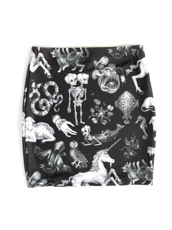 Freak of Nature Print Mini Skirt in Black by PrettySnake on Etsy