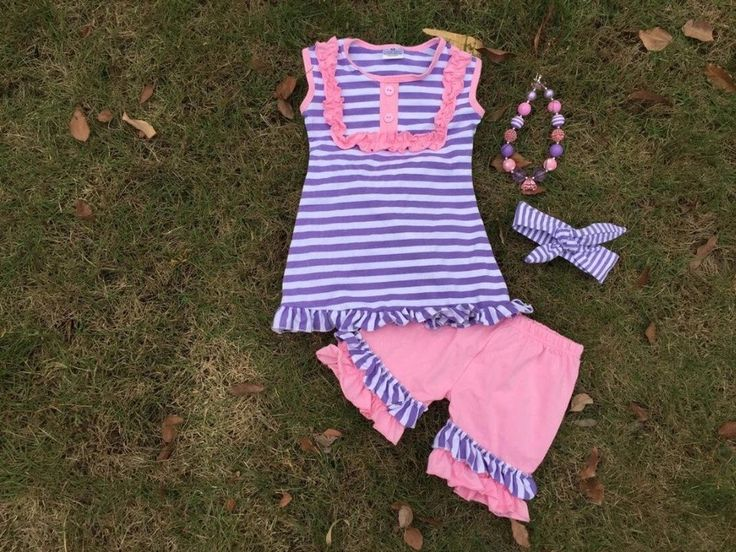 Baby Girl Clothes Toddler Girl Outfit Infant Girl Boutique Outfit Kids Clothing Girl Clothes Purple Striped Short Outfit Monogram by MoxieGirlBoutique on Etsy