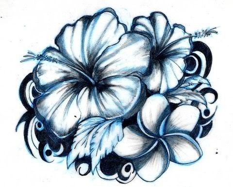 hawaiian flower tattoos.  I want something like this on the top of my shoulder.  It matches my wrist, too.