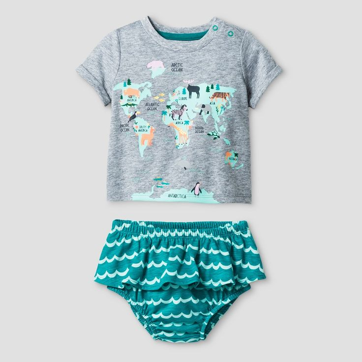 Baby Girls' World Map T-Shirt and Bloomer Set - Baby Cat & Jack Green 3-6 Months, Infant Girl's, Size: 3-6 M, Gray