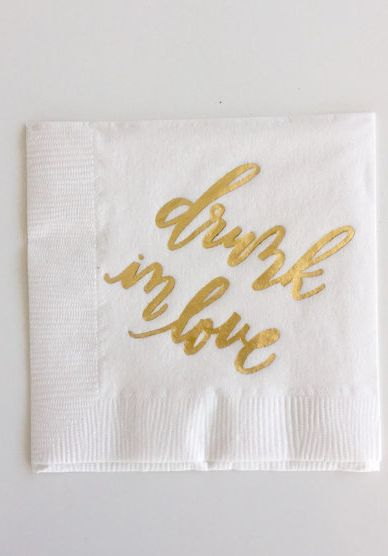 'Drunk in love,' cocktail napkins by Laura Hooper Calligraphy