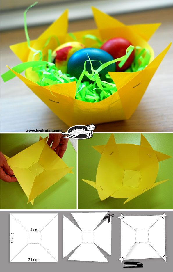 paper easter basket - could use a painted cereal box to make it more sturdy