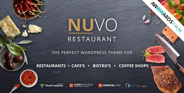 NUVO Restaurant, Cafe & Bistro WordPress Theme