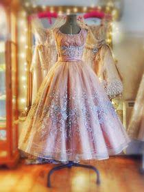 Joanne Fleming Design: 'Tatiana'....peach and silver floral tulle ballerina wedding dress
